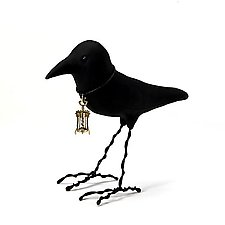 Sommelier Crow by Kamilla White (Polymer Clay Sculpture)