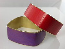 Wider Square Channel Bracelet by Louise Fischer Cozzi (Brass & Polymer Bracelet)