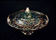 Saturn Oil Light (Opaque Silver Blue) by Danielle Blade and Stephen Gartner (Art Glass Oil Lamp)