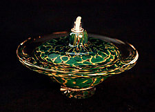 Saturn Oil Light (Opaque Silver Green) by Danielle Blade and Stephen Gartner (Art Glass Oil Lamp)