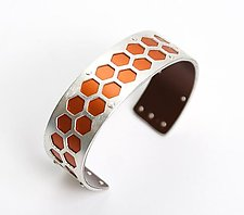 Extra Small Honeycomb Cuff - Orange by Gogo Borgerding (Silver & Aluminum Cuff)