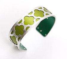 Extra Small Cloud Cuff - Lime Green by Gogo Borgerding (Silver & Aluminum Cuff)
