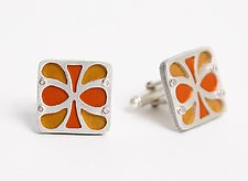 Petal Cuff Links - Gold & Orange by Gogo Borgerding (Metal Cuff Links)