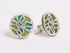 Seapod Cuff Links - Kelly & Lime Green by Gogo Borgerding (Silver & Aluminum Cuff Links)