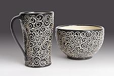 Doodle Bowl by Jennifer  Falter (Ceramic Bowl)