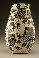 Owl Family Vase: Large by Jennifer  Falter (Ceramic Vase)