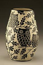 Owl Family Vase: Small by Jennifer  Falter (Ceramic Vase)