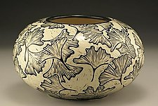 Large Round Ginkgo Vase by Jennifer  Falter (Ceramic Vase)