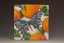 Tile with Oranges and Blue Butterfly by Farraday Newsome (Ceramic Wall Sculpture)
