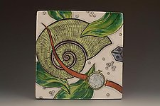 Tile with Moonsnail and Watch by Farraday Newsome (Ceramic Wall Sculpture)