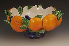 Dark Blue Bowl with Oranges by Farraday Newsome (Ceramic Bowl)