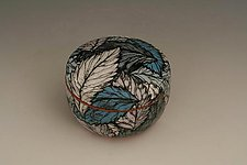 Round Black Box with Blue Leaves by Farraday Newsome (Ceramic Box)