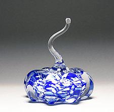 Speckled Blue Pumpkin by Scott Summerfield (Art Glass Sculpture)