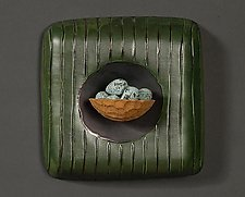 Nest and Eggs by Marilee Hall (Ceramic Wall Sculpture)