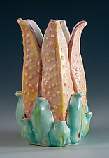 Porcelain Trumpet Lily Vase and Candle Holder by Carol Barclay (Ceramic Vessel)