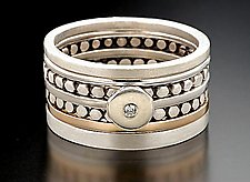 Ellipsis Stack Rings Silver and Gold by Linda Bernasconi (Gold, Silver, & Stone Rings)