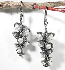 White Pearl & Oxidized Pod Cluster Earrings by Sarah Richardson (Silver & Pearl Earrings)