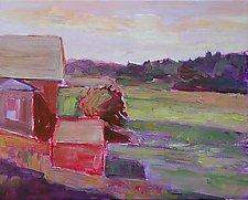 Red House on Monhegan by Leonard Moskowitz (Acrylic Painting)