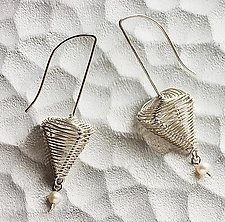 Pyramid Sculpture Hooks with Pearl Dangles by Kathy Frey (Silver & Pearl Earrings)