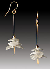 Pagoda Drop Earrings by Carolyn Zakarija (Gold & Silver Earrings)