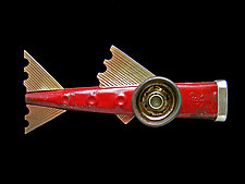 Red Hummer Kazoo Fish Brooch by Lisa and Scott  Cylinder (Metal Brooch)