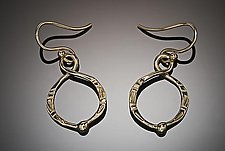 Forged Circle Earrings by Louise Norrell (Gold Earrings)