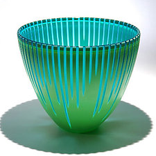 Carved Turquoise Green Vessel by Christopher Jeffries (Art Glass Vessel)