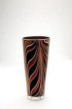 Brown Flattened Leaf vase by Christopher Jeffries (Art Glass Vase)