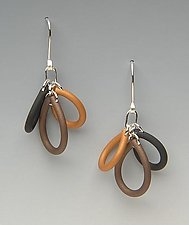 Triple Loop-multi color by Lonna Keller (Gold & Neoprene Earrings)
