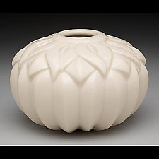 Round Striped Sins Vase by Lynne Meade (Ceramic Vase)