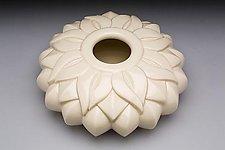 Flat Striped Sins Vessel by Lynne Meade (Ceramic Vase)