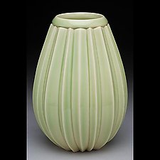 Stripe Cut Tear Vase by Lynne Meade (Ceramic Vase)