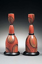 Salmon Scribble Candlesticks by Kimberly D. Winkle (Wood Candleholders)