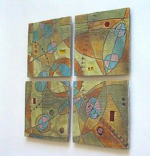 Abstract Space 4-Tile Wall Piece by Janine Sopp (Ceramic Wall Sculpture)