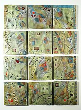 Abstract Space, Hills, 12-Tile Wall Piece by Janine Sopp (Ceramic Wall Sculpture)