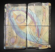 Abstract Space Galactic Progression Wall Piece by Janine Sopp (Ceramic Wall Sculpture)