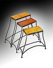 Spectrum Nesting Tables by Cheryl McNeill (Art Glass Side Tables)