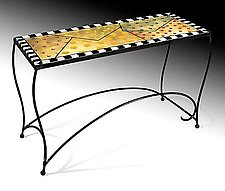 Picadilly Sofa Table by Cheryl McNeill (Art Glass Console table)