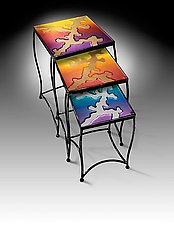Lava Nesting Tables by Cheryl McNeill (Art Glass Side Tables)
