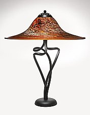 Paprika Round Spiral Lamp by Joel and Candace  Bless (Art Glass Table Lamp)