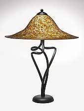 Bronze Stone Round Spiral Lamp by Joel and Candace  Bless (Art Glass Table Lamp)