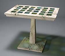 Jessie Cafe Table by Terence S. Dubreuil (Concrete & Art Glass Cafe Table)