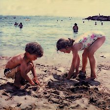 Beachplay on Riviera by Julie Betts Testwuide (Giclee Print)