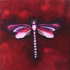 Coral Dragonfly by Rachel Tribble (Giclee Print)