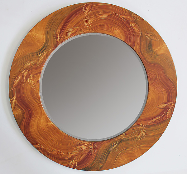 Honey Burl Vine Round Mirror