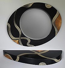 Kyoto French Curved Shelf and Mirror by Ingela Noren and Daniel  Grant (Painted Wood Miror & Shelf)