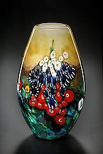 Tall Landscape Series Vase in Yellow by Shawn Messenger (Art Glass Vase)
