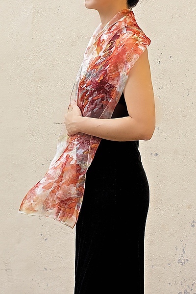 Mini Floral Organza Scarf in Orange Chrysanthemum