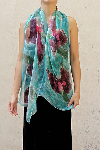 Mini Floral Organza Scarf in Turquoise Sweet Pea