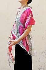 Floral Organza Scarf in Pink Cyclamen by Yuh Okano  (Silk Scarf)